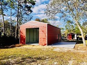 Probuilt Structures Sleel Building Storage Building Sheds She Sheds Man Cave Car port Boat Port RV Port customers red