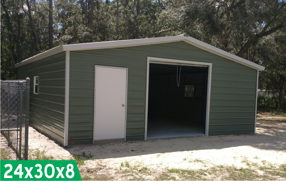 Probuilt Structures Sleel Building Storage Building Sheds She Sheds Man Cave Car port Boat Port RV Port 24x30x8 green