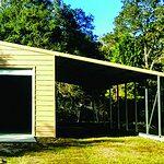 Probuilt Structures Sleel Building Storage Building Sheds She Sheds Man Cave Car port Boat Port RV Port Tan with garage vdoor