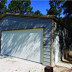 Probuilt Structures Sleel Building Storage Building Sheds She Sheds Man Cave Car port Boat Port RV Port light grey and tan