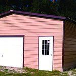 Probuilt Structures Sleel Building Storage Building Sheds She Sheds Man Cave Car port Boat Port RV Port tan and deep brown
